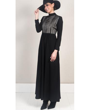 vestido largo negro Malena